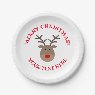 Custom Rudolph the reindeer Christmas party plates