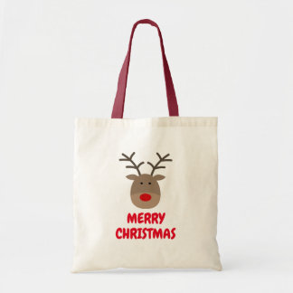 Custom Rudolph the reindeer Christmas tote bag