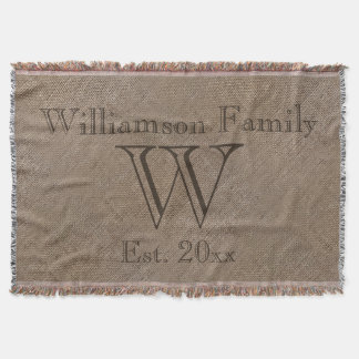 Custom Rustic Burlap-Look Family Keepsake Afghan Throw Blanket