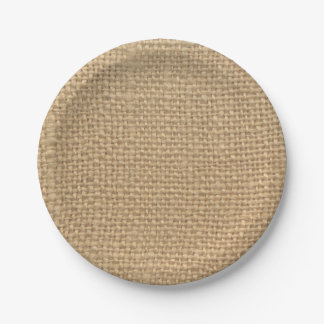 Custom Rustic Burlap Party Paper Plates