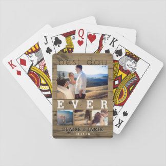 Custom Rustic Wedding Photo Collage Best Day Ever Playing Cards