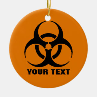 Custom Safety Orange Biohazard Symbol Warning Sign Ceramic Ornament