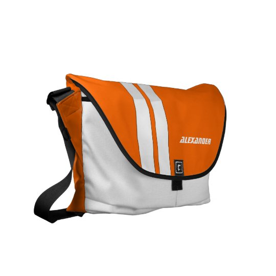 Custom Safety Orange/White Racing Stripe Messenger Commuter Bag