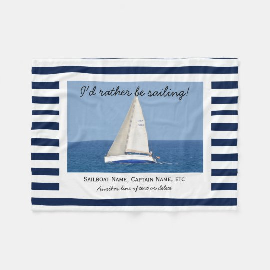 Custom Sailing Sailboat Photo Blue & White Stripes Fleece Blanket