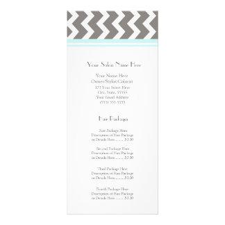 Custom Salon Rack Cards Aqua Grey Chevron