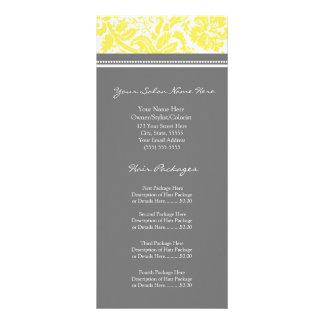 Custom Salon Rack Cards Yellow Grey Damask