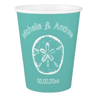 Custom sand dollar beach wedding party paper cups