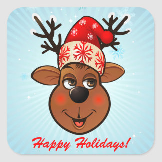 Custom Santa Claus's Reindeer Cartoon Square Sticker