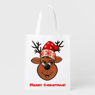 Custom Santa Claus's Reindeer Reusable Grocery Bags