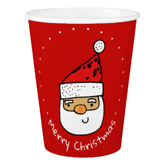 Custom Santa Whimsical Trendy Christmas Holiday Paper Cup