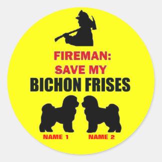 Custom Save My Bichon Frises Classic Round Sticker