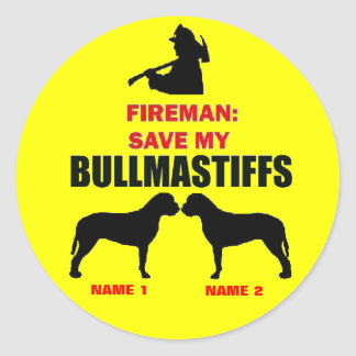 Custom Save My Bullmastiffs Round Sticker