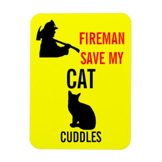 Custom Save My Cat Fire Safety Rectangular Photo Magnet
