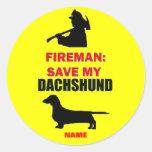 Custom Save My Dachshund Round Sticker