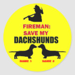 Custom Save My Dachshunds Round Sticker