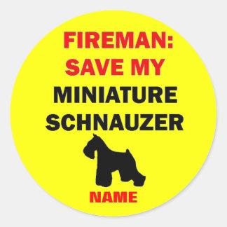 Custom Save My Miniature Schnauzer Classic Round Sticker