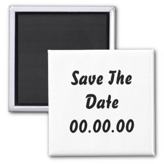 Custom, Save The Date. Black and White Square Magnet