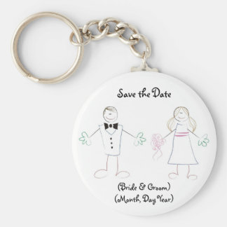 Custom Save the Date Keychain- Cartoon Couple Basic Round Button Keychain
