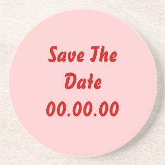Custom Save The Date Red and Pink Beverage Coaster