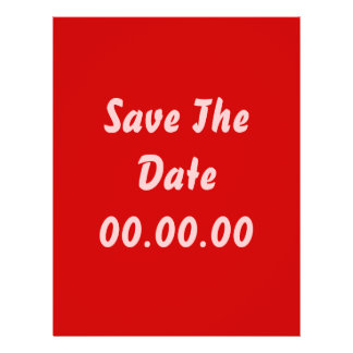 Custom, Save The Date. Red and Pink Flyer