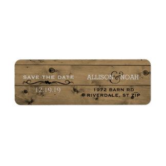 Custom Save the Date | Rustic Barn Wood  Wedding Return Address Label
