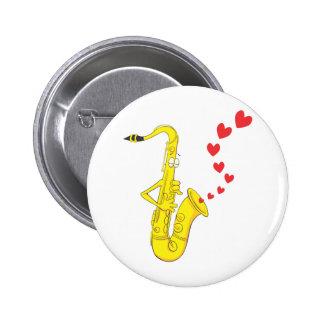 Custom Saxophone Serenading Love 2 Inch Round Button