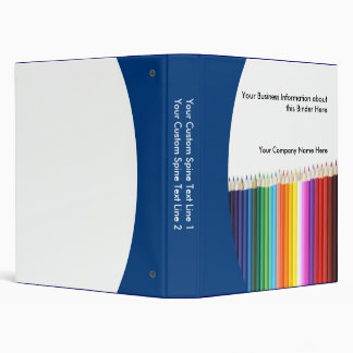 Custom School Binder, Colored Pencils 3 Ring Binder