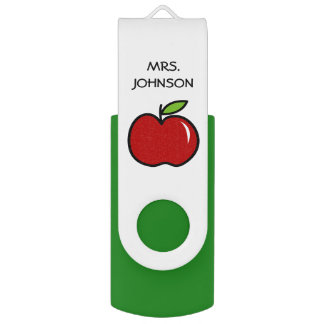 Custom school teacher red apple USB flash drive Swivel USB 2.0 Flash Drive