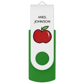 Custom school teacher red apple USB flash drive Swivel USB 2.0 Flash Drive
