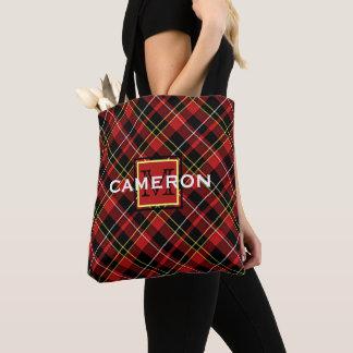 Custom Scots Red Black Yellow White Tartan Pattern Tote Bag