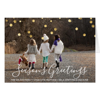Custom SEASON'S GREETINGS Gold confetti | PHOTO Card