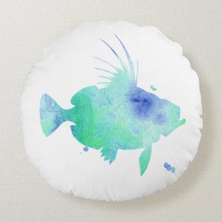 custom shades of Blue fish Round Pillow