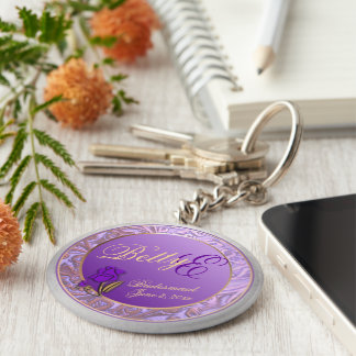 Custom Shades of Lavender Bridesmaid Keepsake Keychain