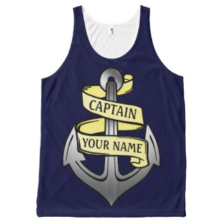 Custom Ship Captain Your Name Anchor Nautical All-Over-Print Tank Top