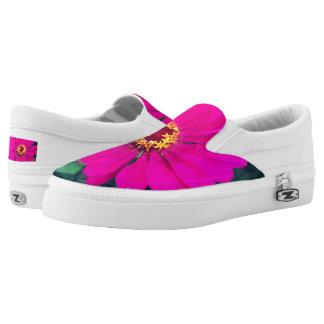 Custom  Shoes,  US Women 5-6.5 - Pink flowers Slip-On Sneakers