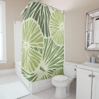 Custom Shower Curtain/ Green leaf-flower print