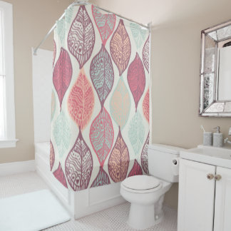 Custom Shower Curtain/ leaf print, pastel colors