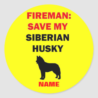 Custom Siberian Husky Fire Safety Classic Round Sticker