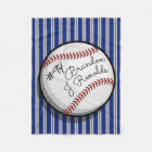 Custom Signature Style Baseball Navy | Grey Stripe Fleece Blanket