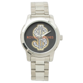 Custom silver dollar sign watch