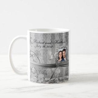 Custom Silver Floral Photo Wedding Mug Favor
