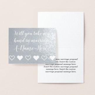 Custom Silver Foil Marriage Proposal Card