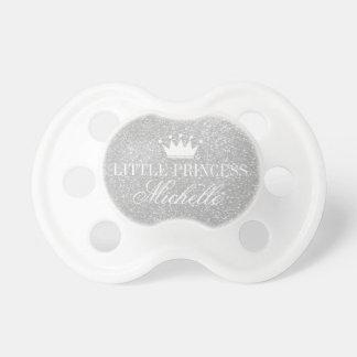Custom silver glitter print princess crown pacifier