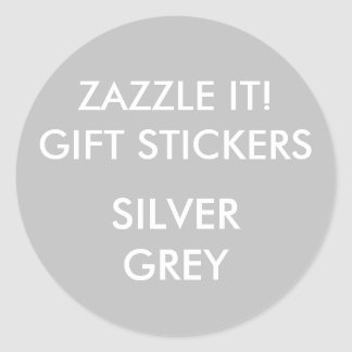 Custom SILVER GREY ROUND Large Gift Stickers
