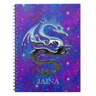 Custom Silver Lucky Dragon Purple Galaxy Notebook