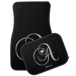 Custom Silver Monogram Letter 'A' Diamond Heart Car Mat