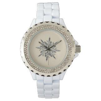 Custom Silver Wrap Around Beige Snowflake Watch