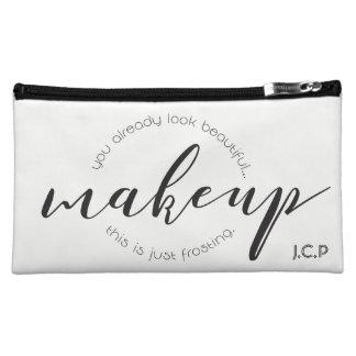 Custom, Simple • Makeup, script, monogram, Makeup Bag