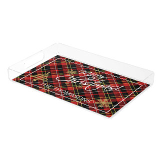 Custom Simple Merry Christmas Wish Tartan Pattern Acrylic Tray