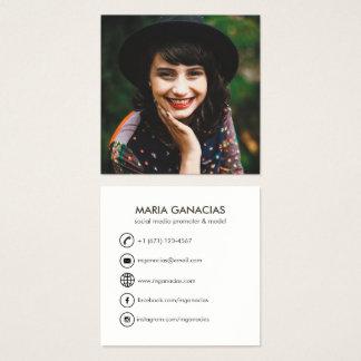 Custom Simple Photo Social Media Business Card